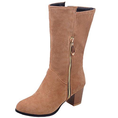 HooH Mujer Mid Calf Botas Invierno Kitten Gamuza Cremallera Chunky Medias botas Amarillo