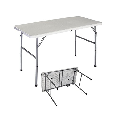 Portable Design Folding Table Powder Coated Steel Frame HDPE Table Top Indoor-Outdoor Living Room School Office Picnic Camp Party Light-weight Commercial Dining Table - 4ft - Half Glasses Frame Singapore