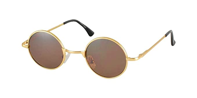 small clubmaster sunglasses 2jfb  Sunglasses bifocal Brown Lens Smaller Johnny Retro Gold Metal Rimmed Round  Hippy Sunglasses Lennon glasses hipster