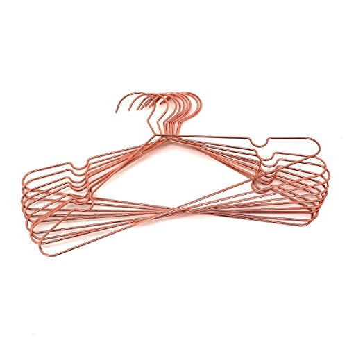 Koobay 10Pack A17 Adult Rose Copper Gold Shiny Metal Wire Top Clothes Hangers for Shirts Coat Storage & Display by Koobay