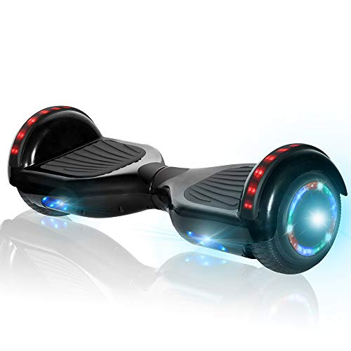 NHT Hoverboard Electric Self Balancing Scooter Hover Board with Build in Hover Board LED Running Lights Safety Certified (Black)