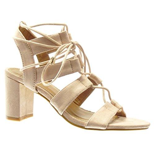 Angkorly - Chaussure Mode Sandale Mule femme lanière multi-bride lacets Talon haut bloc 8 CM - Rose