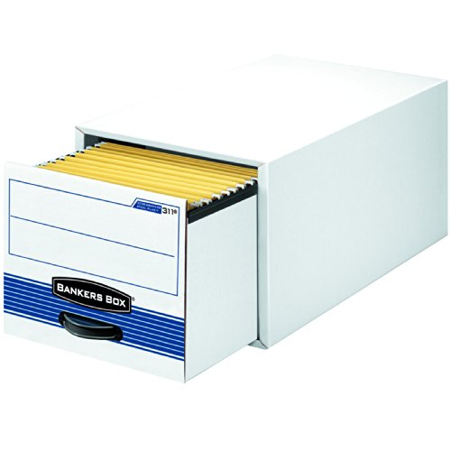 Bankers Box 00312 STOR/DRAWER Steel Plus Storage Box, Legal, White/Blue (Case of 6) by Bankers Box