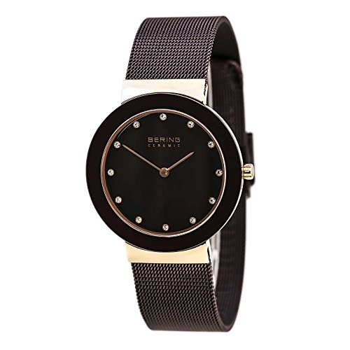 BERING Time 11435-262 Womens Ceramic Collection Watch with Mesh Band and scratch resistant sapphire crystal. Designed in Denmark.