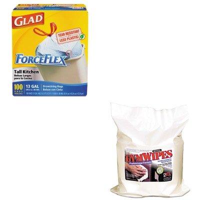 KITCOX70427TXLL38 - Value Kit - Gymwipes Professional Wipes Refill (TXLL38) and Glad ForceFlex Tall-Kitchen Drawstring Bags (COX70427)