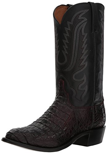 Hornback Caiman Cowboy Boots - Lucchese Bootmaker Men's Walter Western Boot, Black Cherry, 8.5 D US
