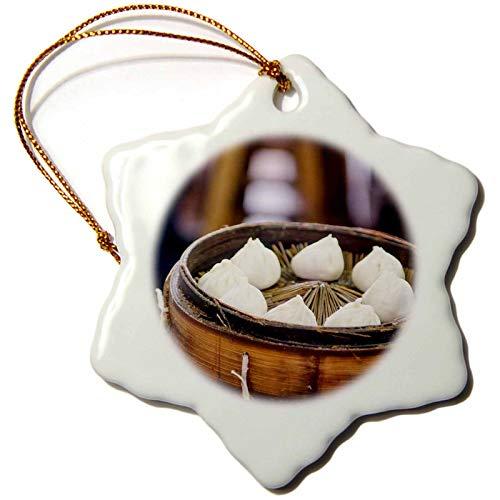 China Ornament Snowflake (3dRose Xiao Long Bao Dumpling, Chenghuang Miao, Shanghai, China Snowflake Ornament, 3