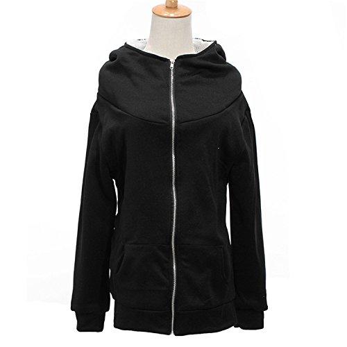 Renee Ander Simple Hooded Warm Coat Female Hoodies Fleece Pockets Jacket Outwears Sweatshirt Plus Size Black S