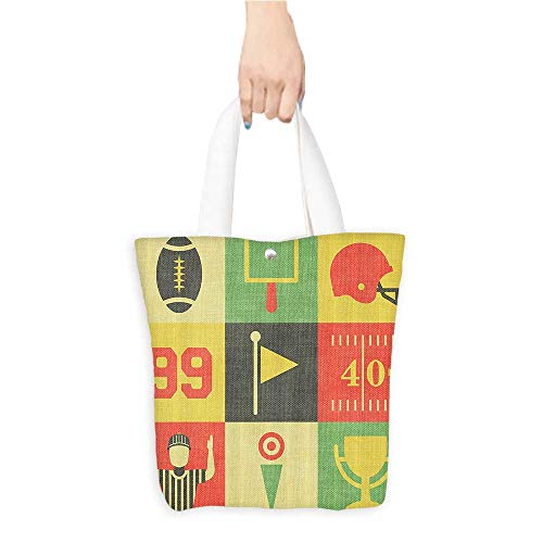 Football Vintage Canvas Daisy (Ecofriendly Shopping BagAmbesonne Sports Decor Collection Collection of Vintage American Football Icons and Graphics Artwork Image Polyester Fabric Bathroom Shower Curtain 84(W15.75 x L17.71 Inch))