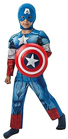 Fancy Me - Déguisement Captain America Super Héros Pour Garçons + Bouclier - Bleu, 7-8 ans