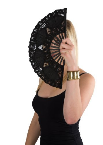 likemary Hand Fan Lace & Embroidered Ladies Battenburg Black Large