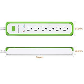 Poweradd 6-Outlet Commercial Power Strip Surge Protector 900 Joules with 5-Foot Power Cord - Green+White