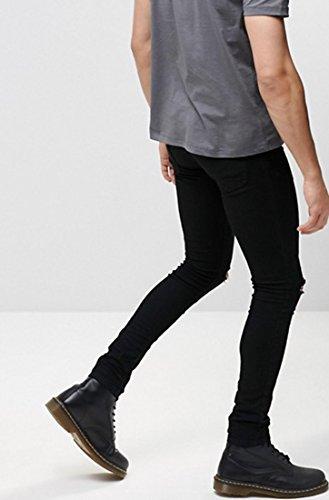 bedfc16961c1 Men's Skinny Fit Knees Slit Ripped Jeans Stretch Slim Denim Pants Black 32