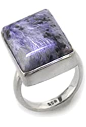 Genuine Purple Russian Charoite Sterling Silver Ring(Sizes 5,6,7,8,9)