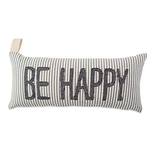 Mud Pie Farmhouse Ticking Be Happy Accent Lumbar Pillow Decorative Pillow, White, Grey