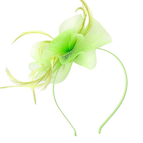 Fascinators for Women, Acecharming Women's Feather Sinamay Fascinators with Headbands Tea Party Pillbox Hat Easter Flower Derby Hats for Women (Light Green)]()