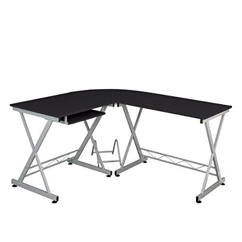 Fineboard Home Office Corner Desk, L-Shaped, Black/Silver by Fineboard