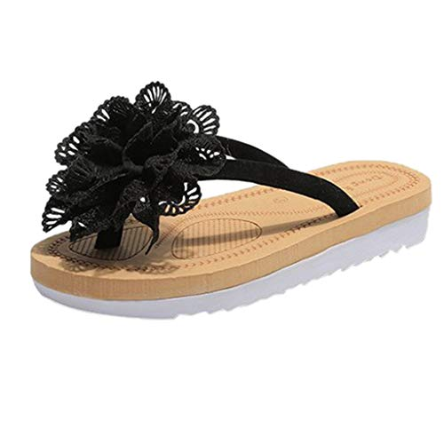 Sandals Flower Platform Pump Flats Flip Flop Slide Slipper Clog Mule Black ()