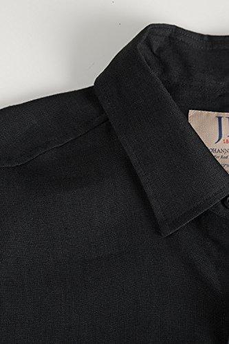 JP 1880 Homme Grandes tailles En Lin Manches Courtes Chemise Casual - 100% Lin - Col classique noir 5XL 703647 10-5XL