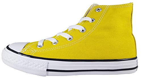Converse Girls Kids' Chuck Taylor All Star 2019 Seasonal High Top Sneaker, Bold Citron/Natural Ivory 1 M US Little - Hi Star Leather Sneaker