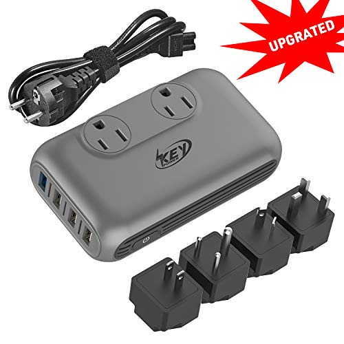 Key Power Step Down 220V to 110V Voltage Converter and International Travel Adapter, for CPAP, Hair Clippers, Hair Straightener, Curling Iron, Laptop - [Use USA Appliance Overseas in 260+ Countries] (Best Laptop In India)