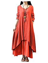 BIUBIU Women's Vintage Long Sleeve Linen Cotton Loose Fit Maxi Dress S-3XL
