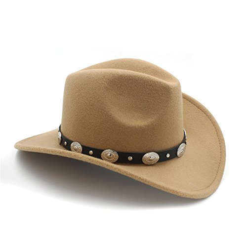 Cowboy Hats Vintage Womem Men Western with Wide Brim Punk Belt Cowgirl Jazz Cap with Leather Toca Sombrero Cap 23 (tan)