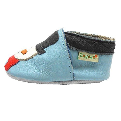 Sayoyo Suaves Zapatos De Cuero Del Bebé Zapatillas Muñeco de nieve azul