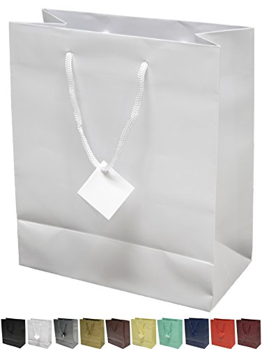 Novel Box® White Matte Laminated Euro Tote Paper Gift Bag Bundle 8