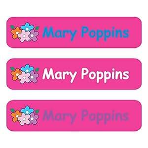 Nombre golosos - hierro en etiquetas etiqueta flores, color rosa ...
