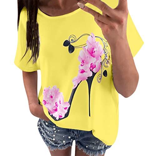 Mesh Polka Dot Bustier - Casual Loose Short Sleeve T-Shirts Women High Heels Printed Beach Blouse Top Yellow