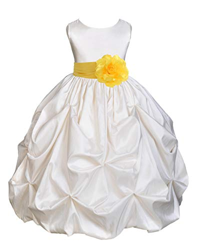 Satin Taffeta Pick-Up Bubble Ivory Junior Pageant Girl Dress Formal 301S -
