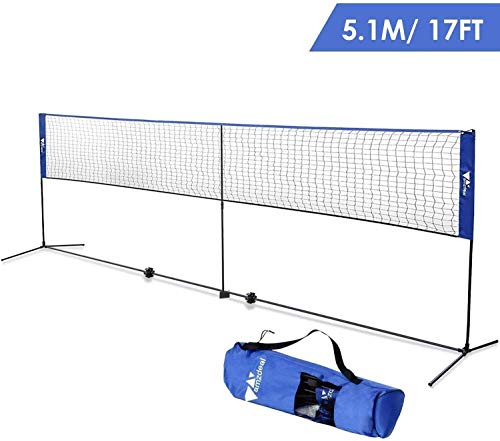Amzdeal Portable Badminton Net 17ft, Adjustable Height for Badminton, Kids Volleyball, Tennis, Pickleball, Easy Setup Nylon Sports Net with Pole for Indoor/Outdoor Beach, Court, Backyard