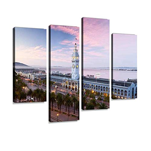 San Francisco Ferry Building Canvas Wall Art Hanging Paintings Modern Artwork Abstract Picture Prints Home Decoration Gift Unique Designed Framed 4 Panel