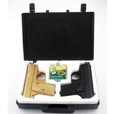 BBTac Airsoft Spy Handgun - Twin Pack Pocket Pistol Gun with Storage Case (Gold & Black)