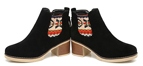 Booties Block Heel Toe Black Mid With Round Fringe Up Womens Ankle Fringed Zip Aisun Casual Boots Chelsea Short Inside w1SIqZOU