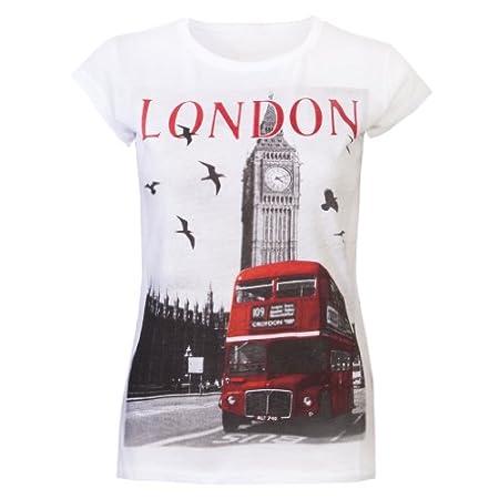 Womens Tops Ladies T Shirts Glitter London Souvenir Tee Shirts Big Ben London Bus Super Quality White 41zoNKLciNL