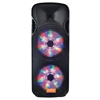 "Edison Professional M-6500 Twin 15"" Pa High Power Speakers with LED Lighting"