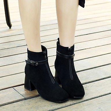 Heart&M Mujer Botas Botas de Moda Otoño Invierno Semicuero Casual Vestido Hebilla Tacón Robusto Negro Gris 5 - 7 cms black