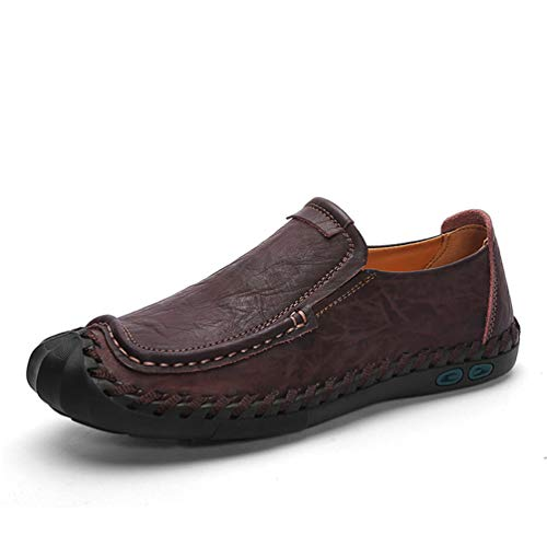 DRON TOOON Casual Men's Genuine Leather Penny Loafers Comfortable Slip-On Boat Flats Driving Shoes (10.5, Brown)