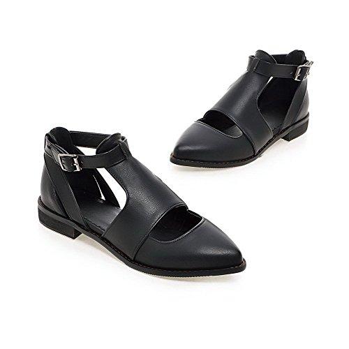 Amoonyfashion Womens Spitse Gesloten Teen Lage Hakken Zacht Materiaal Stevige Gesp Pumps-schoenen Zwart