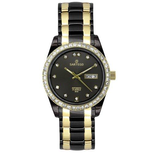 Sartego Men's SCGU24 Classic Analog Black Face Dial Two-Tone Swarovski Watch