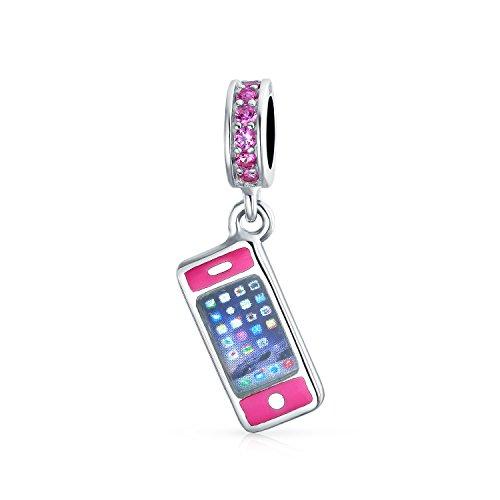 Pink Cellular Cell Smart Mobile Phone Dangle Charm Bead For Women For Teen 925 Sterling Silver Fits European Bracelet