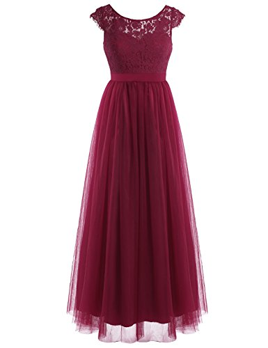 YiZYiF Women Crochet Lace Wedding Bridesmaid Formal Gown Prom Party Maxi Dress (4, Lace Tulle Wine Red)