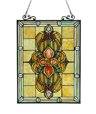 (Chloe Lighting Metal Stained Glass Window Panels Chloe Lighting Avalon Stained Glass Victorian Window Panel 18X25 18.46 X 25.55 X 0.18 Inches Black Model # CH3P320VI24-GPN)