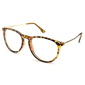 PenSee Womens Fashion Oversized Clear Lens Round Circle Eye Glasses (Fleck)