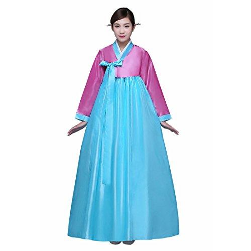 [Ez-sofei Women's Korean Traditional Hanbok Dancing Dresses S Pink&Blue] (Korean Culture Costume)
