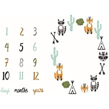 Newborn Baby Milestone Keepsake Blanket Baby's First Year Monthly Milestone Personalized Photography Props Shoots Backdrop Cloth (animals)