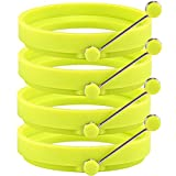 Zenware Set of 4 Non Stick Silicone Egg Ring Pancake Molds - Green