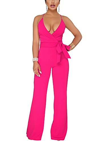 Dreamparis Women's Sexy Deep V Neck Wide Leg Jumpsuits Wrap Backless High Waist Sleeveless Belted Flare Rompers Large Rose